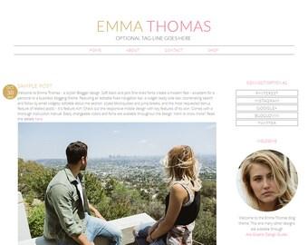 "Responsive Blogger Template / Premade Blog Design - ""Emma Thomas"" Pink Gold"