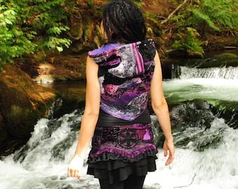 Festival Clothing, Pixie Vest, Eco Gypsy Vest,  Patchwork Vest, Cropped Vest, Hooded Vest, Intergalactic Apparel