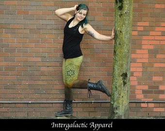 Sacred Geometry Leggings MEDIUM with Hand Dyed Organic Fabric by Intergalactic Apparel, Festival Clothing