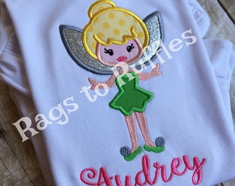 Tinkerbelle Inspired Applique Monogrammed Shirt