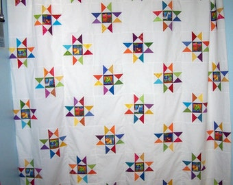 patchwork stars shower curtain