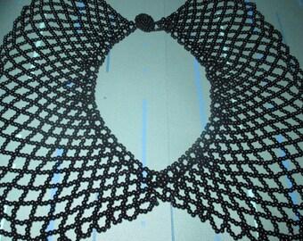 Vintage MOD Crocheted Black Glass Bead Bib Collar Choker Necklace