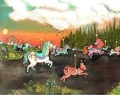 Carousel Horse Print Whimsical Bird Runaway Carousel Art Merry Go Round Carnival Wall Art
