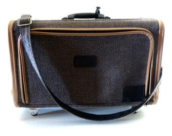 Vintage Skyway Luggage Brown Tweed Wheeled Carry-On Suitcase Pristine