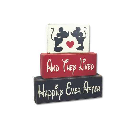 Mickey Minnie Mouse kissing wedding and they lived happily ever after engagement centerpiece primitive distressed rustic stacking blocks