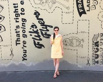 vintage 60s yellow gingham mini dress xs