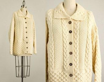 90s Vintage Hand Knit Irish Aran Fishermans Cream Shetland Wool Cardigan / Size Medium
