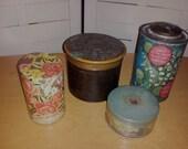 4 antique pretty Dusting perfumed Powder Vanity Jars Tins Arden, Coty, Jobet et Cie, Morny
