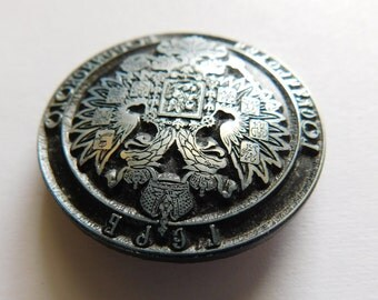 1800s Pin Medal Russia Soviet Union Two Headed Eagle Antique Coat of Arms