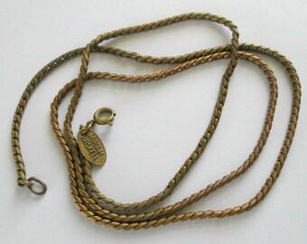"""Vintage Brass Wheat Chain Miriam Haskell 24"""""""