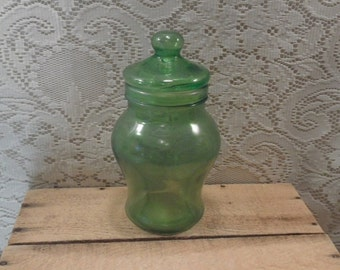 Glass Canister / Apothecary Jar Green glass jar