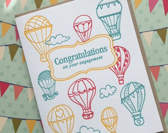 Balloon Engagement - letterpress card