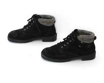 size 8 GRUNGE black suede 80s 90s HIKING TIMBERLAND style lace up ankle work boots