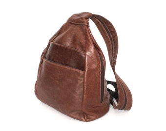 GRUNGE brown leather 80s 90s HOBO triangle knapsack convertible BACKPACK