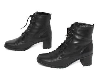 size 8 PLATFORM black leather 80s 90s COMBAT lace up ankle boots