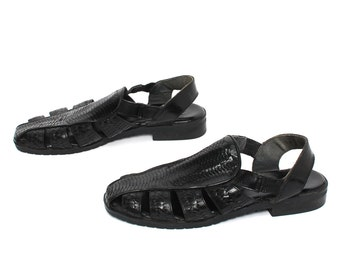 size 9.5 WOVEN black leather 80s 90s HUARACHE FISHERMAN flat sandals