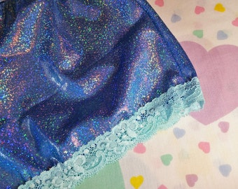 Holographic mermaid hotpants, fairy kei 80s party roller derby size extra large XL