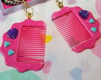 Hair comb earrings, barbie style dolly fashion fairy kei hairdresser gift