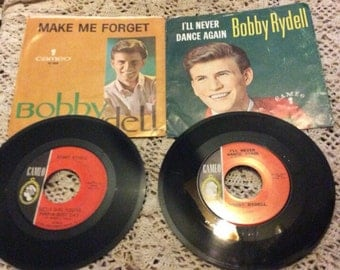 2 Bobby Rydell 45 rpm records with picture sleeves