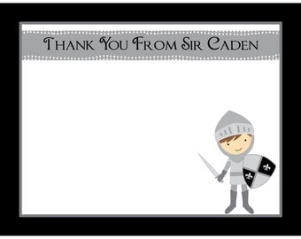 20 Personalized Birthday Thank You Cards   - Knight  Design