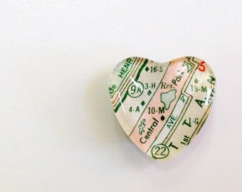NEW Vintage Map Magnet - Heart Shape - Central Park New York - Ready to Ship