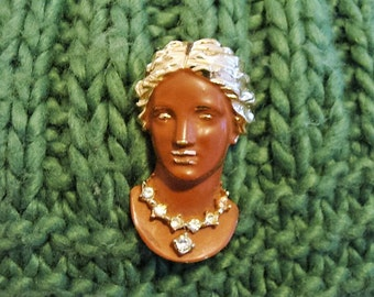 Beautiful Brown and Gold Cameo Style Pin with Rhinestone Necklace