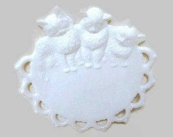 Vintage Milk Glass Cat  Candy Dish