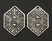 Antique Silver Geometric Earring Findings Ethnic Tribal Jewelry Supply |S8-15|2