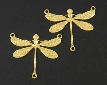 2 Pcs Dragonfly Pendant Gold Three Hole Y Necklace Pendant Charm 3 to 1 Connector |g15-9|2