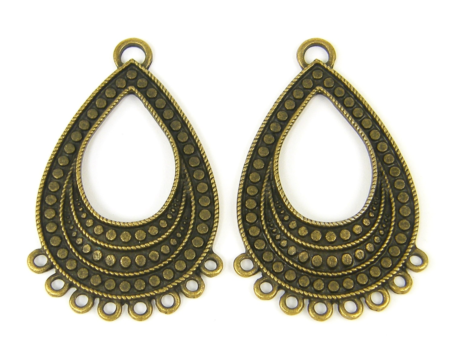 Teardrop chandelier earring findings antique brass chandelier teardrop chandelier earring findings antique brass chandelier earring parts multiple hole earring components an7 142 arubaitofo Image collections