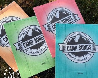 LDS Girls Camp Song Book for Young Women - Printable Set - Aqua, Pink, Orange and Green