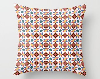 Moroccan pillow, pillow cover, Tiles pillow, Decorative pillows for couch -Decorative throw pillow cover