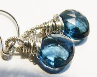 Blue quartz, sterling silver, wire wrapped, Blue quartz earrings