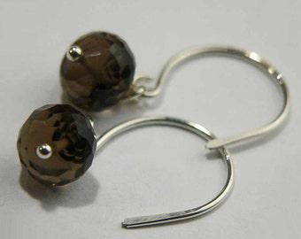 Smoky Quartz earrings, Smoky Quartz Rondelles, Faceted Smoky Quartz, Sterling Silver, Wire Wrapped