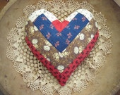 Small Heart Pillow Made From Vintage Antique Quilt