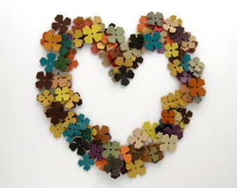 Leather Die Cut Flowers Leather Jewelry Supplies Fall Leather Crafts Autumn Supplies Handmade Scrap Book Supplies