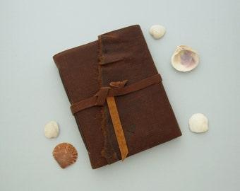 Rugged Nautical Leather Journal or Sketchbook Sailor's Sketchbook Unlined Journal Traveler's Gift Nautical Notebook Brown Leather Journal