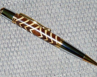 Handmade SEGMENTED Wood Pen MONET Style Twist Ballpoint Parker Gold/Chrome