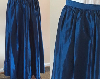 Vintage Blue Long Skirt Taffeta 1980s Formal Sz S/M