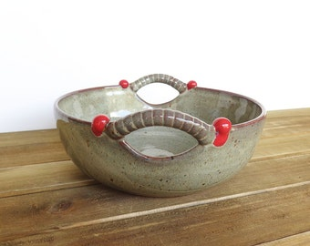 Stoneware Pottery Serving Bowl with 2 Handles in Fog Glaze with Red Accents