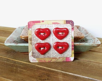 Stoneware Heart Buttons in Glossy Red Glaze - Set of 4