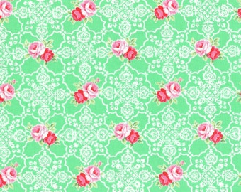 Mint Rose Lace Tile 31377 60 Fabric by Lecien Flower Sugar Sweet Carnival