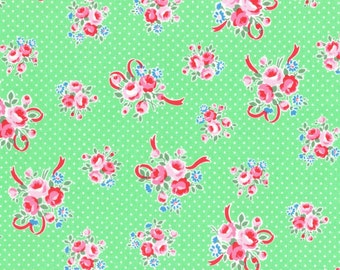 Mint Ribbon Bouquet 31378 60 Fabric by Lecien Flower Sugar Sweet Carnival