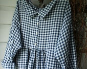 Navy and White Linen  Checked Dresss