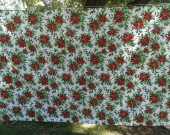 Large Vintage Christmas Table Cloth Poinsettia and Holly