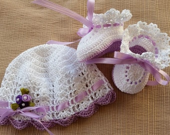 Preemie Baby Hat and Booties, Crochet Hat and Booties, Victorian Preemie Baby Girl or Reborn Doll Lavender Flowers