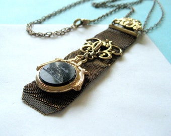 Victorian Watch Fob Necklace with Watch Fob Charm
