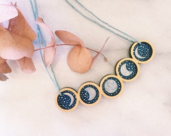 Moon phase Pendulum Necklace . Wooden Necklace . Starry Night