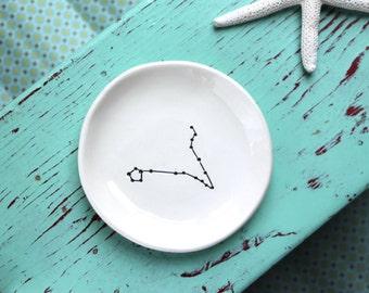 Custom Zodiac Ring Dish, Personalized Birthday Ring Dish, Ring Dish with Custom Horoscope Sign Design