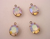 4 vintage glass Crystal AB aurora borealis  oval 12x10 antique brass ox  Prong Settings 1 Ring Closed Backs charms